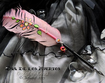 DAY of the DEAD Sugar Skull Feather Quill Dip Pen - Rose