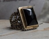 Silver Gold ring, boho chic ring, silver statement ring, onyx stone ring, stone ring, rope ring, hippie ring, gypsy ring - Next to you R1553