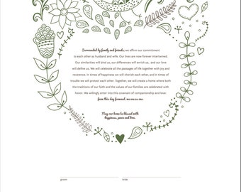 Printable Ketubah Woodland Wedding Marriage Certificate