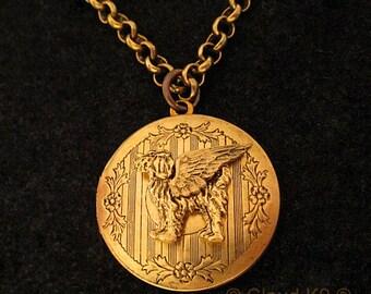 LABRADOODLE GOLDENDOODLE Angel Locket Necklace. Jewelry Locket Pendant. Pet Dog Sympathy Gift. Pet Loss Memorial Golden Doodle Labradoodle
