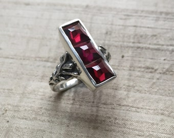 Rose Cut Garnets in Sterling Silver- The Indigo Ring