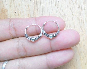 Silver Hoop Earrings, Karen hill tribe, tribal, Charm Hoops, Nose hoop, Hinged hoop earrings Nose Cartilage Ring, Upper ear Earrings, KT03