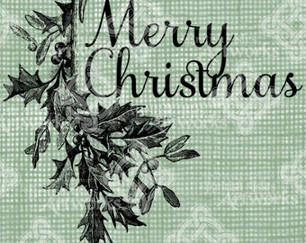 Digital Download Merry Christmas Title Frame with Holly and Mistletoe, Illustration, Vintage drawing with Christmas greeting digi stamp,