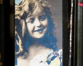 Primitive Style Wood Photo Block Vintage Photo Girl With Big Hair Bow And Flowers