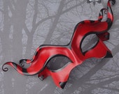 Devilish Imp Leather Mask in Red And Black With Circus Stripes -  Carnivale Masquerade Halloween Costume