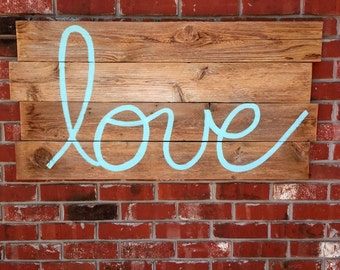 Love Headboard Rustic Old Wood Headboard Wall Art Reclaimed Wood LARGE 44 x 22 Wooden Sign Wedding Decorations Farm House You Pick COLOR