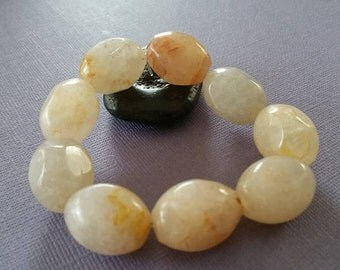 SALE - Peach Aventurine Gemstone Bracelet - Bold and Heavy Bracelet, Unisex Bracelet - Was 18 Now 16.00
