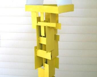 Bird Feeder Modern Build series bird feeder No. 17 in welded steel with yellow enamel finish