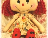 Allison Annie Doll Annie Yellow Duck Print Dress Primitive Raggedy Ann Doll Ready To Ship!