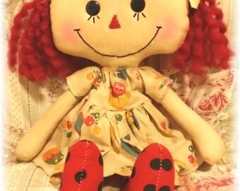 Allison Annie Doll Annie Yellow Duck Print Dress Primitive Raggedy Ann Doll Ready To Ship!