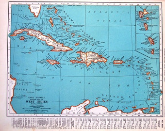 Map of the West Indies, Popular Map of Cuba - 1937 Vintage Rand McNally Map World Atlas 2 Sided - 14 x 11