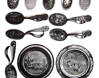Baby Items - Baby Spoons, Alphabet Plates - 1968 Vintage Book Page - 10 x 7