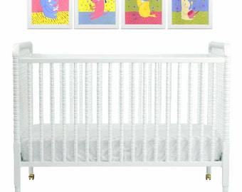 Nursery Art Baby Animal Painting Set of 4 - Chick, Bunny Rabbit, Elephant and Dog -Yellow, Green, Periwinkle Blue, Pink - Wall Decor Artwork