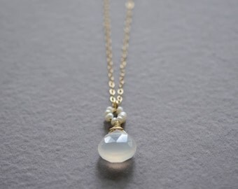 White chalcedony pearl necklace gold white stone necklace pearl necklace bridal jewelry bridal necklace Kahili Creations wedding jewelry