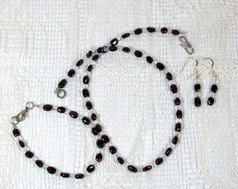 Garnet and Crystal Earrings, Necklace, and Bracelet Ensemble