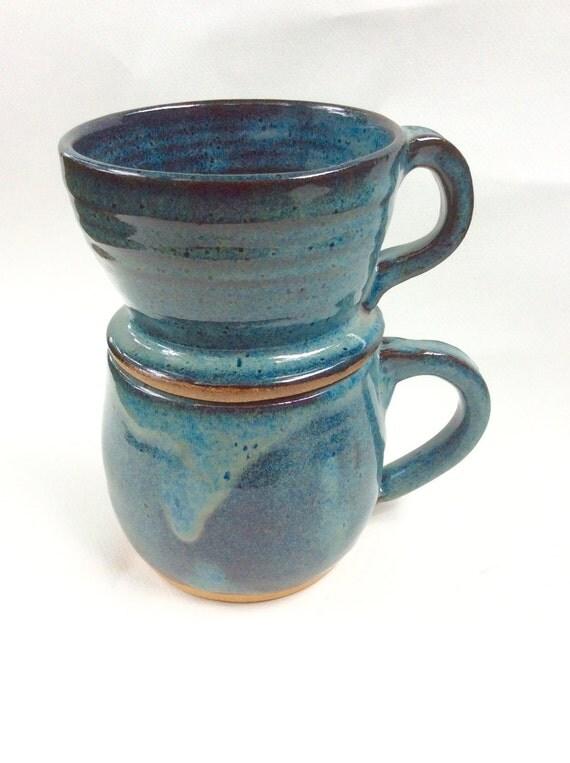 Ceramic Espresso Maker ~ Two piece drip coffee maker blue ceramic server pottery