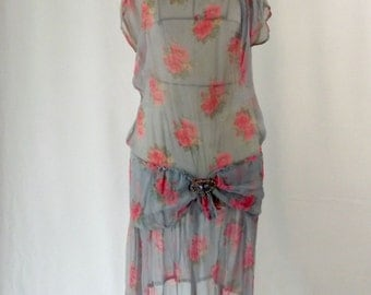 1930s Silk Dress Chiffon  Blue and Pink Sheer Dress with Flutter Sleeves Drop Waist Rhinestone and Pearls