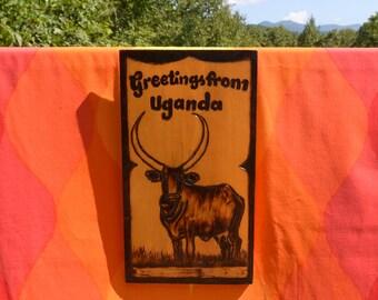 vintage 70s folk art UGANDA wall hanging africa wooden sign ankole longhorn cattle wood 80s