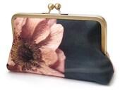 Coral poppy clutch bag, silk purse, bridesmaid clutch, peach flower petals, ORANGE POPPY