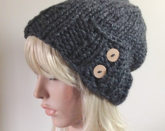Knit Hat - Women's Winter Hat Slouchy Hat Charcoal Gray