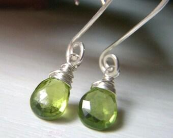 Genuine Peridot Earrings, Sterling Silver Dangle, August Birthstone Earrings, Green Gemstone Briolette, Wirewrapped Dangle Teardrop Gemstone