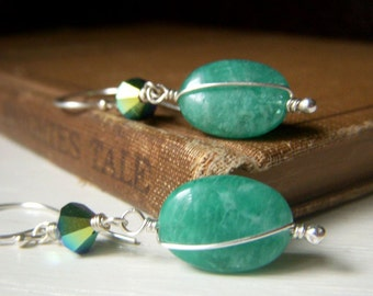 Russian Amazonite Earrings Sterling Silver, Natural Stone Jewelry, Emerald Teal Dangle, Wirewrapped Gemstone Dangle, Oval Gemstone Earrings