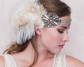 Gatsby Flapper Feather Headband Ivory And Champagne Gold Peacock And Ostrich Feathers