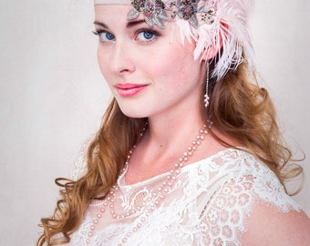 Champagne Pink Flapper Feather Headband Ostrich Plumes