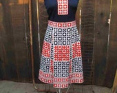 Mr. Dino dress 70s Vintage Knit Dress Navy and Red Woven Cane Dress vintage 70s Pleated skirt knit sleeveless dress S M