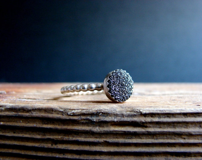 Druzy Black Ring Black Quartz Sterling Silver Stack Ring Halloween Witch Ring