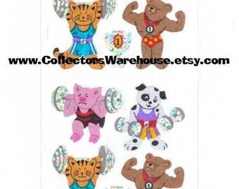 Body Building Animals Sticker Strip by Sandylion MOC prismatic NIP Tiger Bear Pig Dog workout