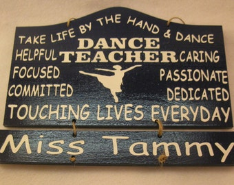 Personalized Wooden Dance Teacher Wall Hanging