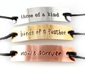 Nightmare Before Christmas Bracelet Set - Lock, Shock, and Barrel - Set of 3 Friendship Bracelets - Stamped Metal Bracelets on Cotton Cord