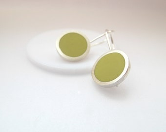Round Sulphur Yellow Dangle Earrings - Saffron Pop Minimalist Jewellery by Quercus Silver