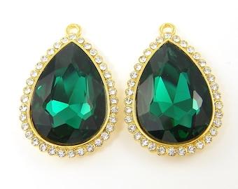 Large Emerald Green Earring Findings Emerald Teardrop Pendant Charms Rhinestone Drop Earring Findings Emerald Bridesmaid Earrings |GR4-4|2