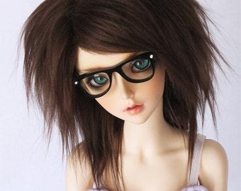 "SD BJD Doll wig 8.5"" long in back Dark brown fake fur wig MonstroDesigns"