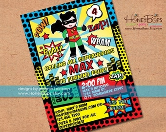 Superhero Invitation Robin or Batman and Robin or Batman or Superman, Announcement - Personalized Printable File