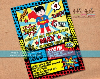 Superhero Invitation Superman or Batman or Robin, or Batman and Robin Birthday Invitation- Personalized Printable File