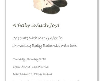 25 baby invitations,antique baby shoes invitation,new born announcement cards, baby shower invitations, baby shoes, black and white
