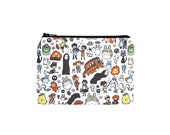 Studio Ghibli Wallet / Totoro Doodles Zipper Pouch / Camera Bag in Calcifer Kiki Ponyo Mononoke