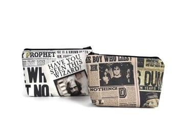 Harry Potter Make Up Bag / Daily Prophet Camera Bag / Bellatrix Lestrange