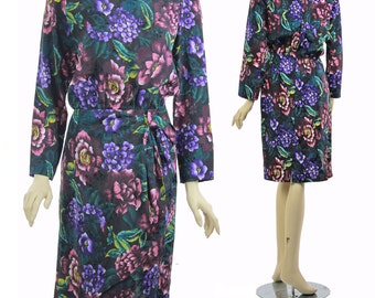 90s floral Grunge dress wiggle wrap skirt high waisted sarong 1990s abstract floral boat neck long sleeve tea length dress Medium