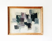 Vintage Mid Century Abstract Oil Painting -purple, grey,