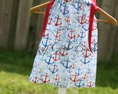 Girls Anchors Away Dress with Dark Red Grosgrain Ribbon Bows that Tie Over both Shoulders