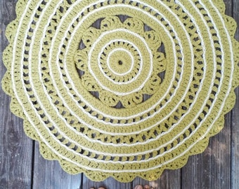 "Crochet Rug Off White Leaf Green Cotton 30"" READY to SHIP"