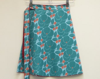 S/M Teal Red and Baby Blue Short Wrap Skirt, A Line Skirt, One Size Fits Most