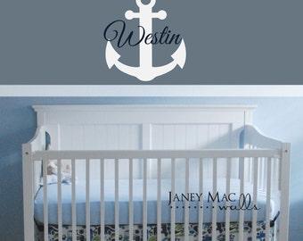 Anchor with Custom Name - Nautical Ocean Wall Decal Set - Anchor Wall Decor - Boy Bedroom Wall Decor - CM151