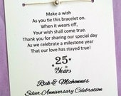 An Anniversary Wish - Wish Bracelet with a Bead - Party Favor Custom Made for You