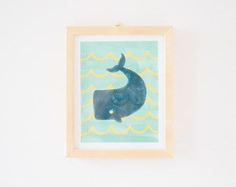 Whale Art Print // block printing and watercolor collage // Nursery Wall Decor - Canada Ship Free!