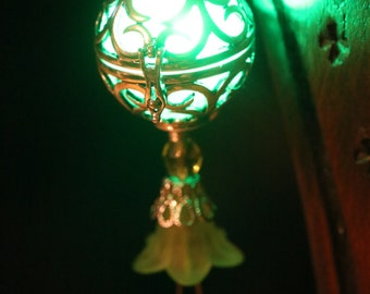 Necklace - Locket with glowing green Orb with wings